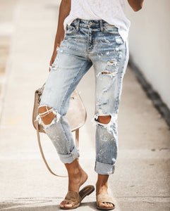Paint Splatter Distressed Denim - Rebel Threads Boutique