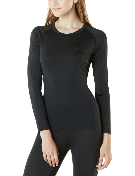 Tesla Women's Long Sleeve T-Shirt Baselayer Cool Dry Compression Top Round Neck FUD01-BLK