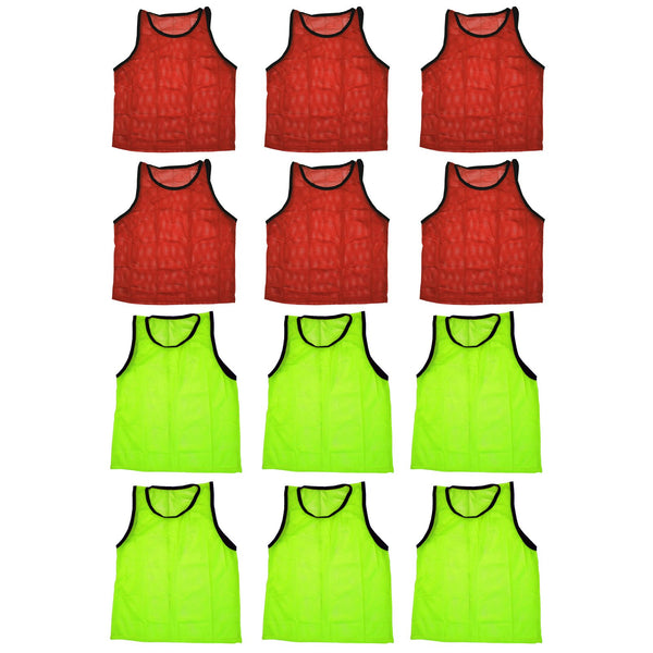 BlueDot Trading Combo Pinnies Vest (Set of 12), Red/Yellow