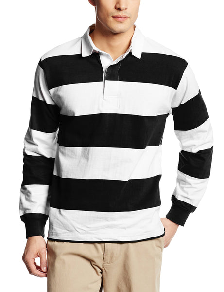 Charles River Apparel Unisex-Adult's Classic Rugby Shirt, Black/White, L - Rugby Gear Online