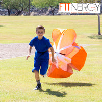 "RUNNING Resistance PARACHUTE By F1TNERGY Durable Top Quality 56"" ORANGE Speed Sprint Training Chute - FREE Carrying Bag - Maximize & Explosive Acceleration - Soccer Football Agility Ladder Speed Rope (ORANGE, 1 UNIT) - Rugby Gear Online"