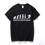 Sporting Fan Evolution of Rugby 100% Cotton T-Shirt Short Sleeve
