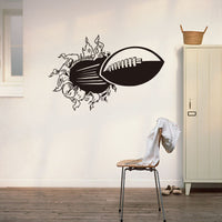 3D Rugby Football Through the wall sticker - Rugby Gear Online