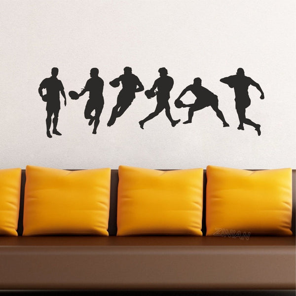 Rugby Action Silhouette Set Wall Stickers Bedroom House Decoration Removable Sport Vinyl Art Decal Mural Boys Kids Room diy Z633 - Rugby Gear Online