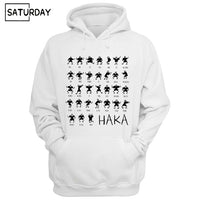 Men Haka Action Silhouette Fleece Print Hoodies Sweatshirts - Rugby Gear Online
