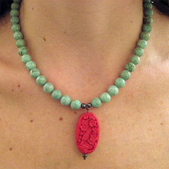 Turquoise and Cinnabar Bird Necklace | Gift Bird Online Store :  giftbird cinnabar bird gift