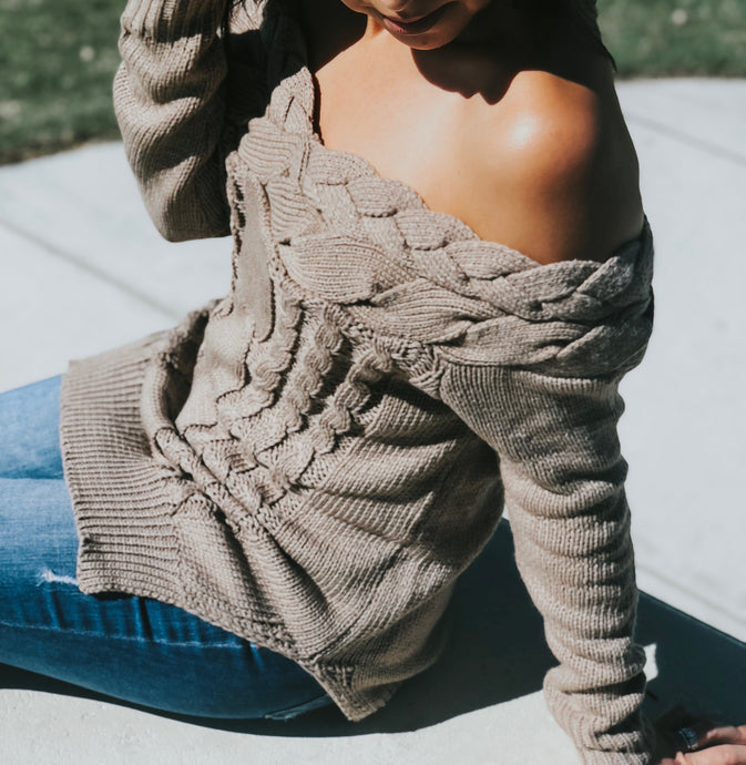 Off Shoulder Coffee Knitted Sweater