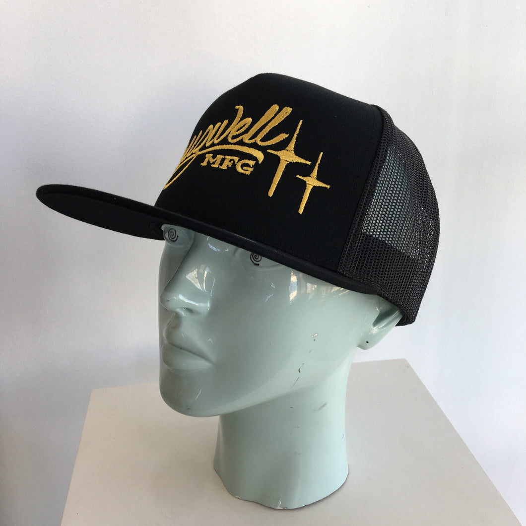 Black Trucker Script Hat - Cruzwell Mfg