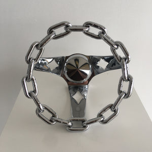 "Chrome 8"" Chain Steering Wheel - Cruzwell Mfg"