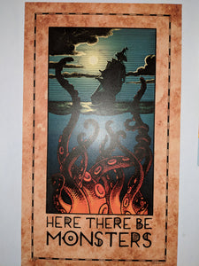 Here There Be Monsters Print