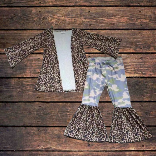 Leopard Print Duster W/ Matching Camo Bell Bottoms