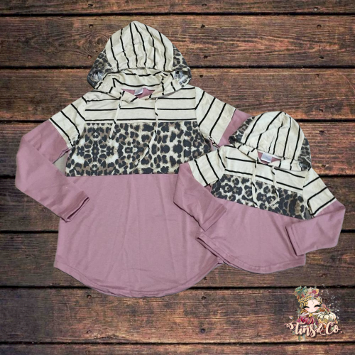 Mommy And Me Striped, Leopard & Mauve Hoodie