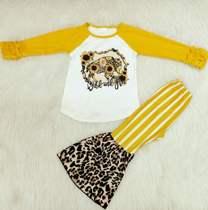 Wild And Free Ruffle Sleeve Top W/ Striped Leopard Print Bell Bottom Pants