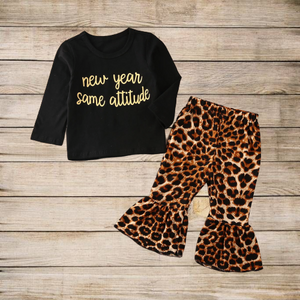 New Year Same Attitude Top W/ Leopard Print Bell Bottoms