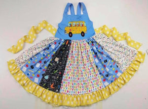 Yellow Polka Dot School Bus Ruffle Sundress