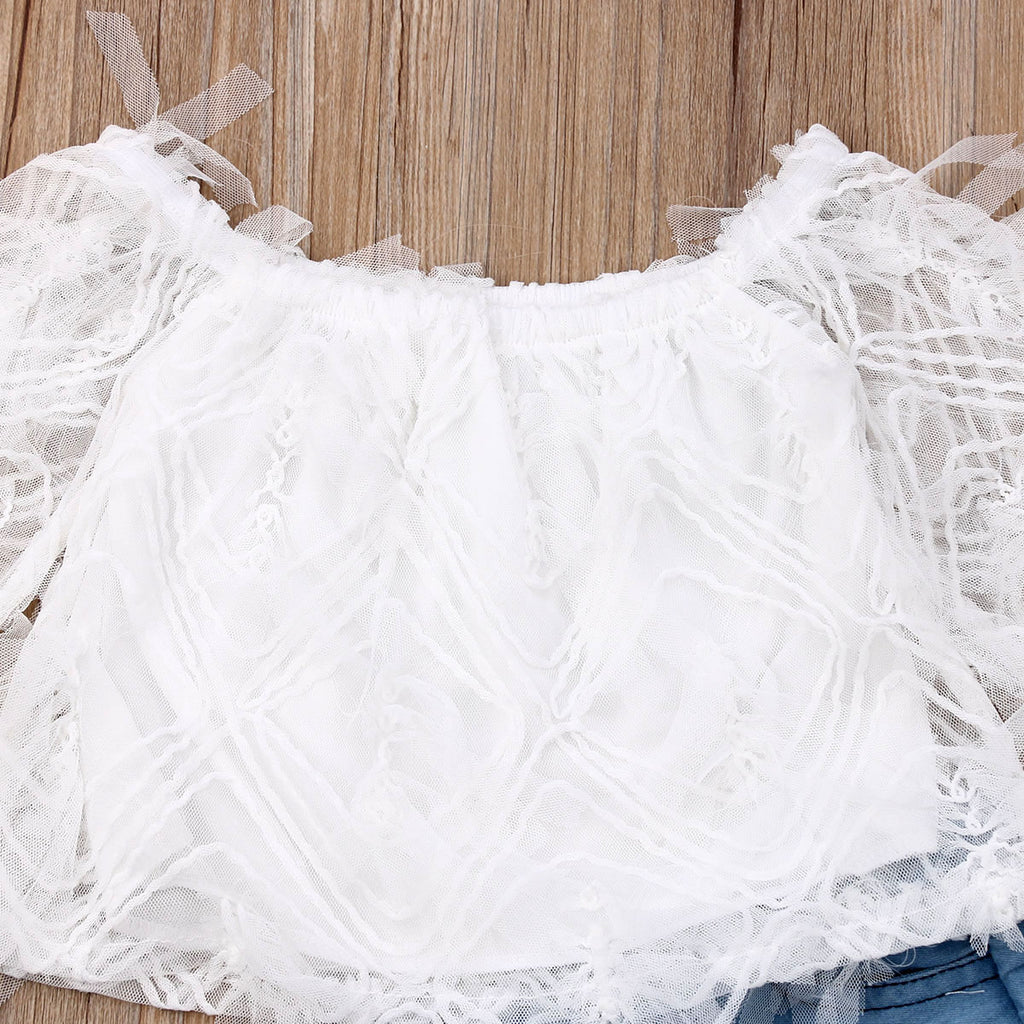 White Fringe Off Shoulder Top W/ Matching Ripped Bell Bottom Pants