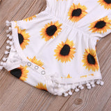 White Sunflower Pom Pom Sunsuit W/ Matching Headband