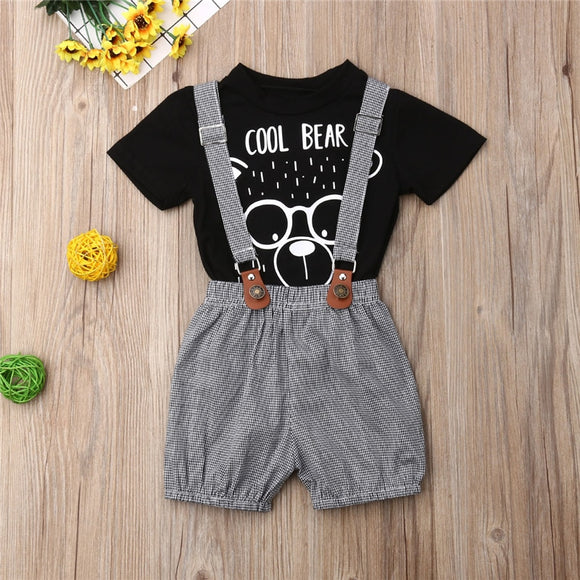 Cool Bear Top W/ Plaid Suspender Shorts