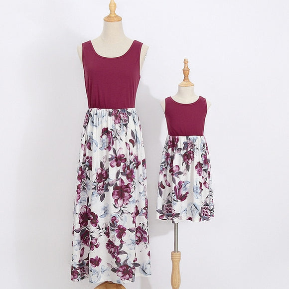 Matching Mother & Daughter Floral Maxi Dress