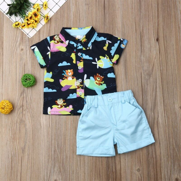 Animal Airplane Collared Button Top W/ Sky Blue Shorts