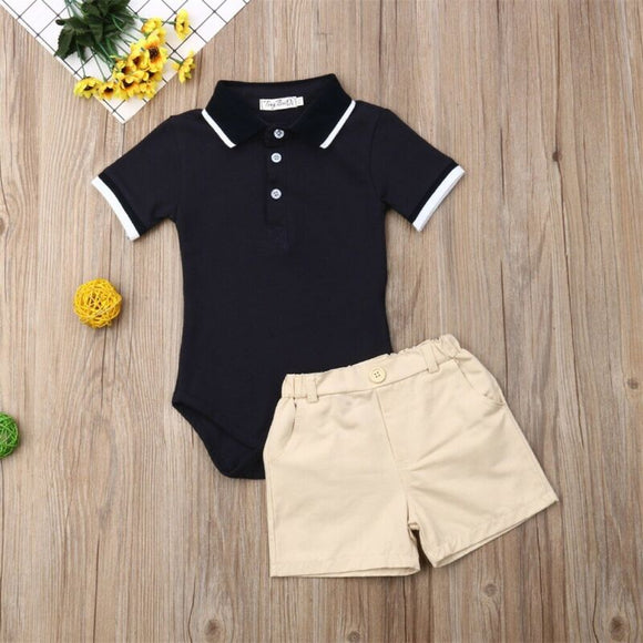 Gentleman's Collared Bodysuit W/ Matching Khaki Shorts