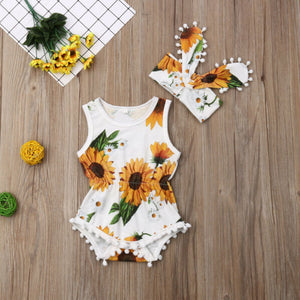 White Floral Pom Pom Sunsuit W/ Matching Headband