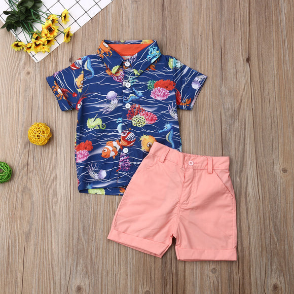 Marine Animal Collared Top W/ Matching Shorts