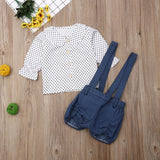 Polka Dot Peter Pan Collar Top W/ Denim Suspender Shorts