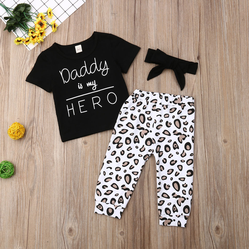 Daddy Is My Hero Top W/ Leopard Print Pants & Matching Headband