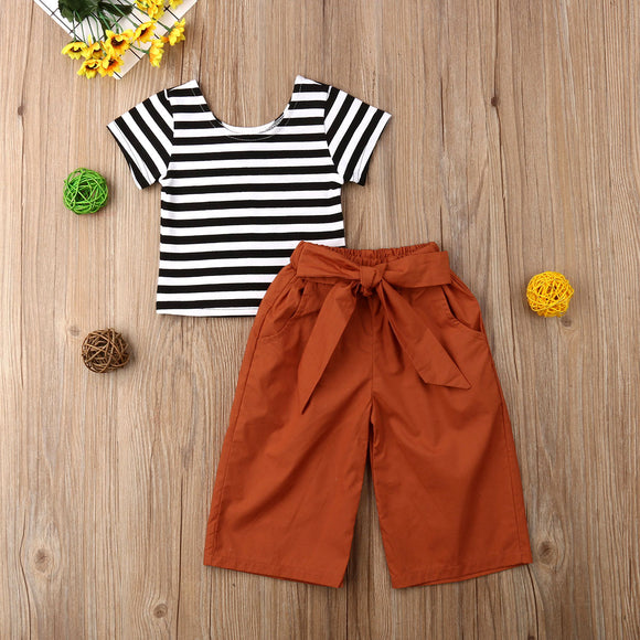 Black & White Striped Top W/ Copper Bowknot Pants