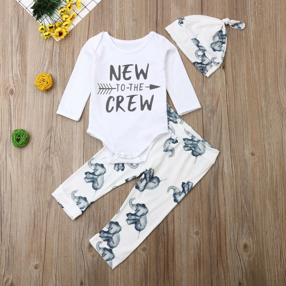 New To The Crew Bodysuit W/ Elephant Print Pants & Cap
