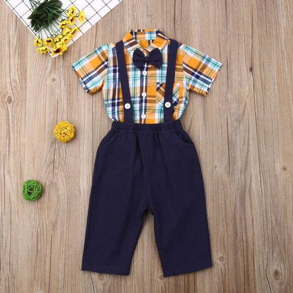 Blue Plaid Bowtie Button Bodysuit W/ Matching Suspender Overalls