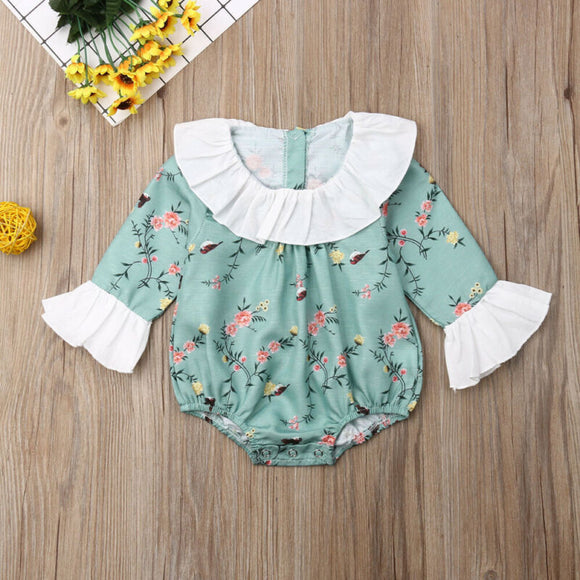 Floral Ruffle Collar Petal Sleeve Sunsuit
