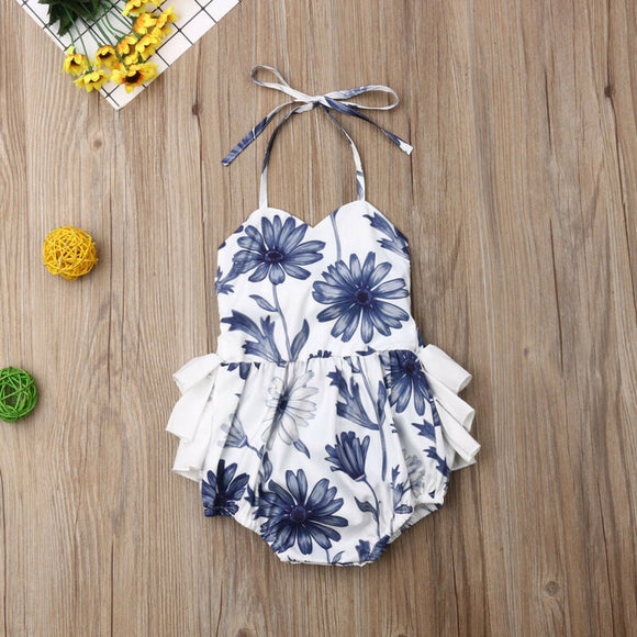 Blue & White Floral Ruffle Halter Sunsuit