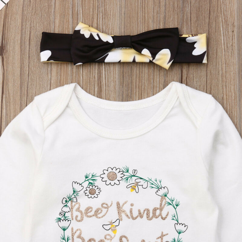 Bee Kind Bee Sweet Bodysuit W/ Floral Pants & Headband