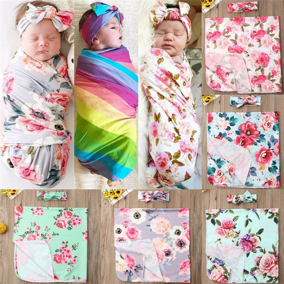 Baby Swaddle Wrap Blanket W/ Matching Headband