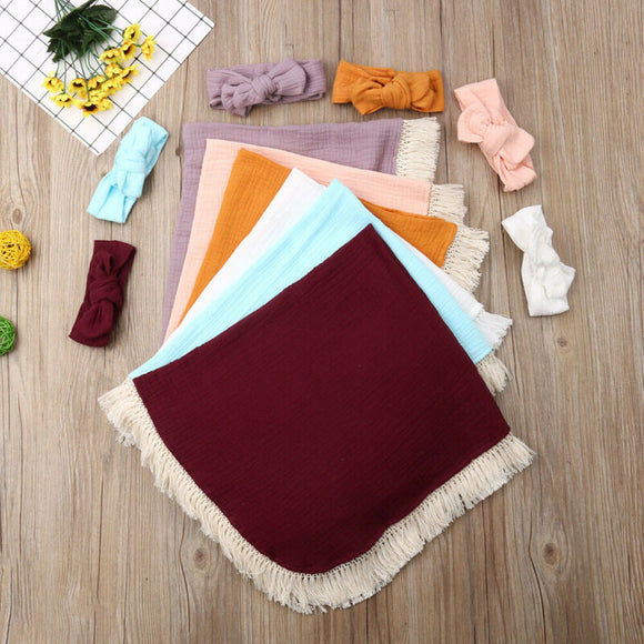 Baby/Toddler Swaddle Fringe Blanket W/ Matching Headband