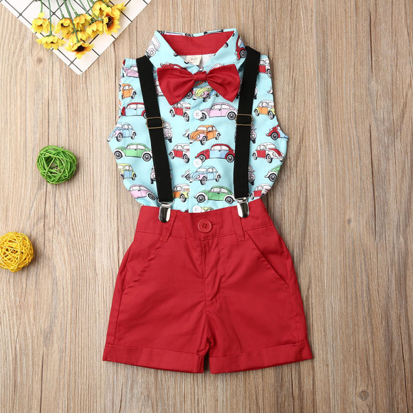 Car Pattern Bowtie Button Collared Tank W/ Red Suspender Shorts