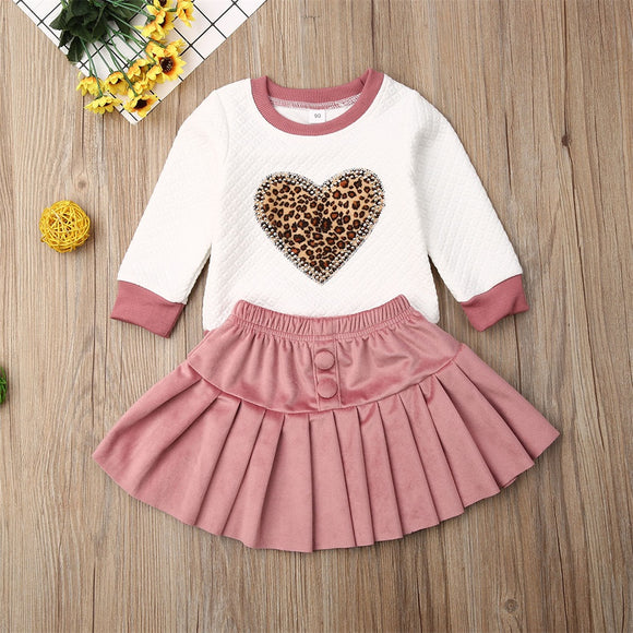 Leopard Heart Sweater W/ Pink Velvet Skirt