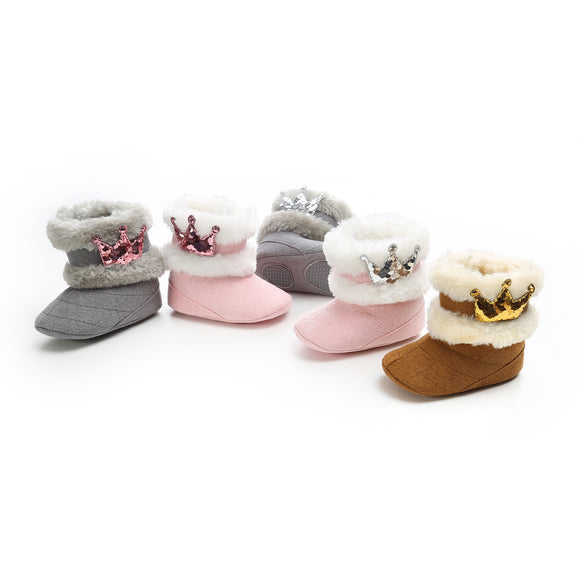 Sequin Princess Crown Fur Booties