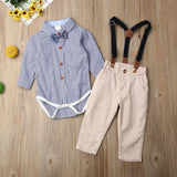 Blue Striped Button Down Gentleman's Bodysuit W/ Khaki Suspender Overalls