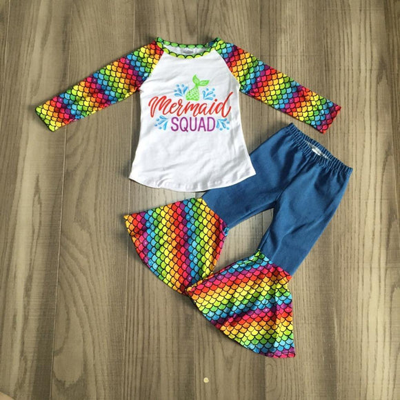 Mermaid Squad Top W/ Matching Bell Bottom Pants