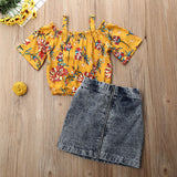 Yellow Floral Off Shoulder Top W/ Dark Denim Pencil Skirt
