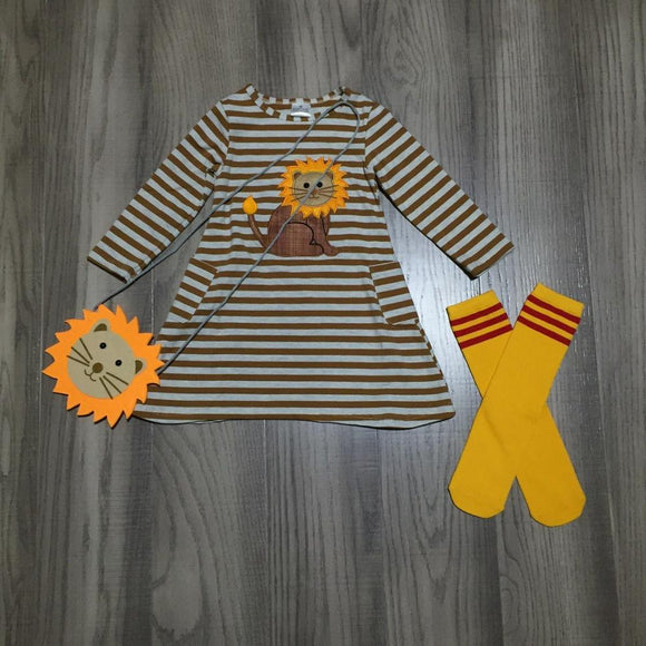 Striped Lion Pocket Dress W/ Matching Purse & Stockings