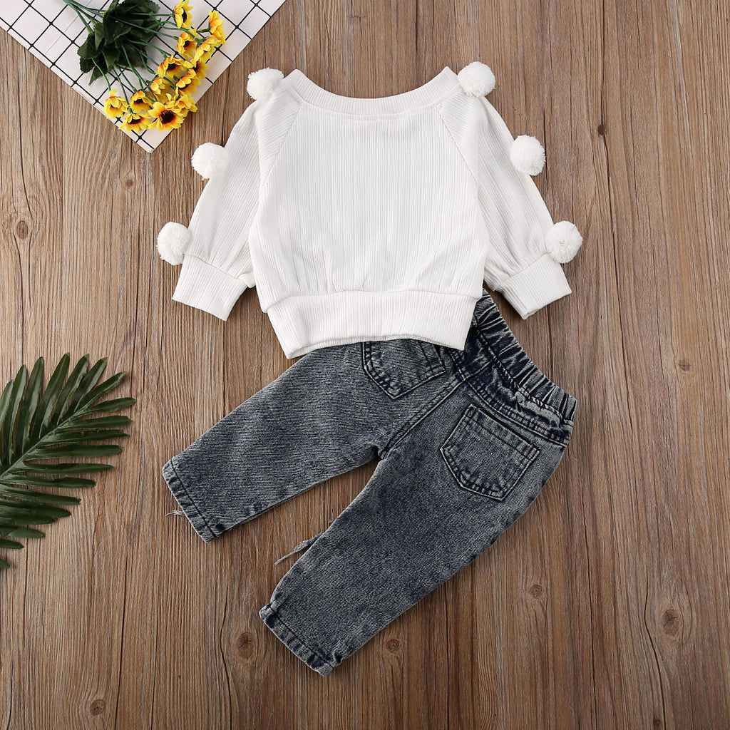 White Puff Ball Sweater W/ Ripped Denim Jeans