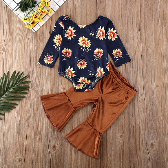 Sunflower Bodysuit W/ Matching Velvet Bell Bottoms