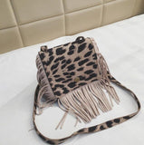 Solid & Leopard Print Tassel Crossbody Purse