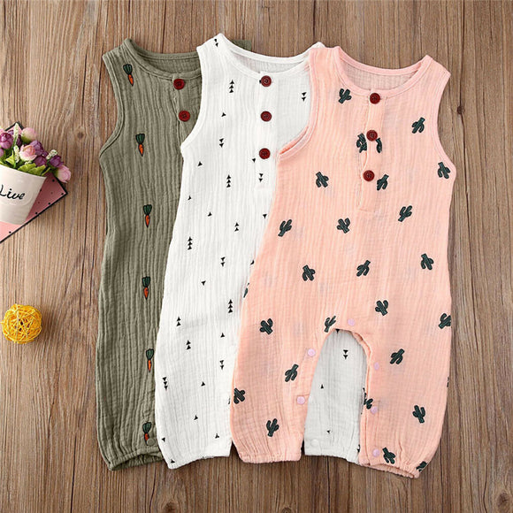Sleeveless Button Romper Jumpsuit