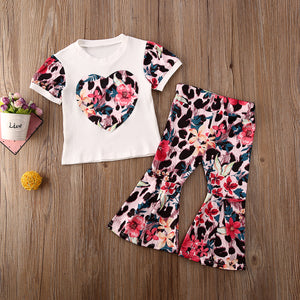 Floral Leopard Heart Top W/ Matching Bell Bottoms