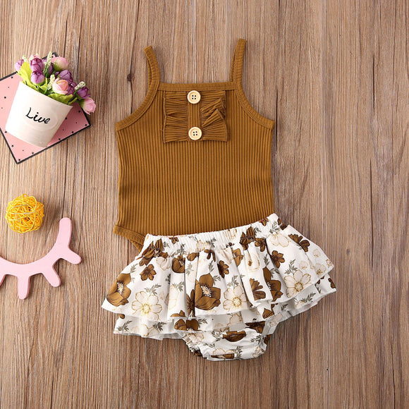 Copper Ruffle Button Bodysuit W/ Floral Skirt Bottoms